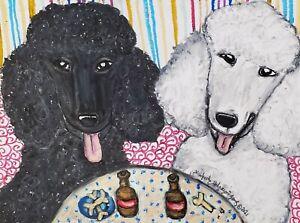 poodle at the Pub black white artwork animal dog art 13x19 poster print new