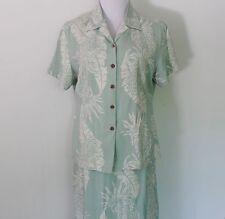 Women's Size 10 Hilo Hattie Silk Light Green Hawaiian Long Skirt & Blouse Set