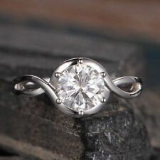 2.0Ct White Round Stone In 925 Silver Curved Halo Wedding Ring For Women With