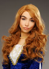 Womens Deluxe Long Curly Auburn Medieval Princess Wig
