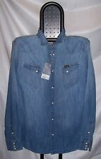 WRANGLER denim shirt Camicia Jeans Slim Light Indigo Tg.L