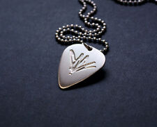 Handmade Etched Sterling Silver Chris Cornell Guitar Pick Necklace - Donation