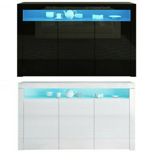 3 Doors Cabinet 130CM Large Sideboard TV Stand Cupboard High Gloss + LED Lights