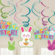 Happy Easter Hanging Bunny Swirls Party Egg Hunt Decorations Value Pack of 12