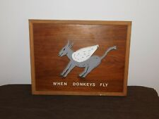 "VINTAGE ART 17"" X 13"" WHEN DONKEYS FLY WOOD FRAMED WALL PICTURE"