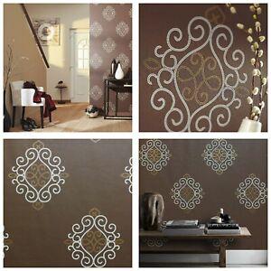 Brown, Light Grey & Gold, Paste the Wall, Designer, Blown Vinyl Wallpaper