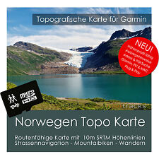 Norwegen Topo Karte 10m Höhenlinien 4GB microSD für Garmin Navi, PC & MAC