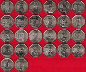"Peru FULL set of 26 coins: 1 nuevo sol 2010 - 2016 ""Wealth and Pride"" UNC"