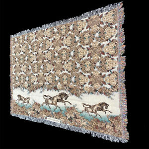 Painted Pony Galloping Horses Florals Vintage 1999 Tapestry Afghan Throw