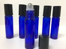 10 -Stainless Steel Metal Roller Ball Cobalt Glass Bottles 10ml Blue New Bottle