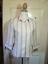 sportscraft  linen  shirt 8 stripe    pink white mint