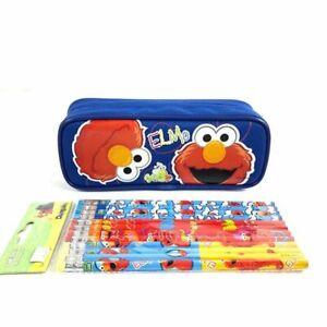 Sesame Street Elmo Blue Pencil Case Pencil Pouch with 12 Pencils