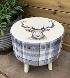 """COUNTRY FOOTSTOOL! """" GREY STAG"""" COORDINATING GREY CHECK"""