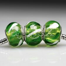 5pcs Hot Silver Murano Glass Lampwork Beads Fit European Bracelet LB0092
