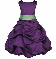PURPLE PAGEANT TODDLER JUNIOR WEDDING FLOWER GIRL DRESS 2 3T 4 6 7 8 10 12 14 16