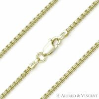925 Italy Sterling Silver 14k GP 1.3mm Channeled Box Link Italian Chain Necklace