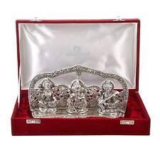 Silver Plated Laxmi Ganesh God Idol Murti with Velvet Box (4 cm x 18 cm x 18 cm)