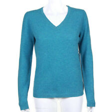 New NICOLE MILLER 100% Cashmere Heathered Blue V-Neck Sweater size M NWT /0955