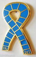 Blue Retro Bar Scarf Ribbon Pin Badge - GOLD plated