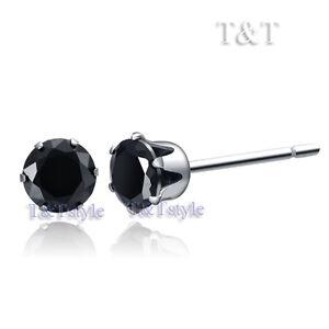 T&T 4mm S. Steel Black CZ Round Stud Earrings ER08D(4)