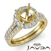 Diamond Engagement Vintage Ring Round Semi Mount Halo Pave 14k Yellow Gold 1.3Ct