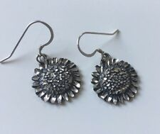 Sun Flower Earrings Hook Dangle 925 Sterling Silver Sunflower Garden
