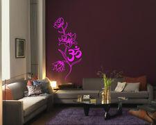 Wall Vinyl Sticker Room Decal Mural Decor Om flower yoga Hindu Buddha   bo2176