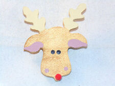 Handmade Wooden Reindeer Pin