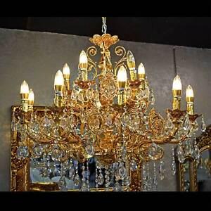 Barock Kronleuchter Gold 85 cm 15-armig Deckenlüster Lüster Wohnzimmer Licht