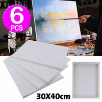 6 PACK 30 X 40CM BLANK PLAIN STRETCHED PAINTING ART ACRYLIC CANVAS UK