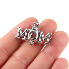 5x Silver Plated MOM Pearl Cage Pendant For DIY Essential Oil Diffuser Necklace