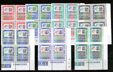 italy 1978-87 MNH high values set SC# 1291-1297 blocks of4 w/CORNER