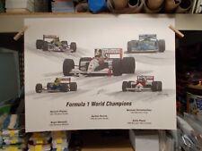 "MICHAEL D. SAVAGE 96 FORMULA 1 WORLD CHAMPIONS SIGNED PRINT 5 CHAMPIONS 18""X24"""