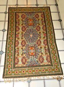 """Vintage hand Crewel~hooked~Woven~Wool Area rug~60"""" x 36"""""""