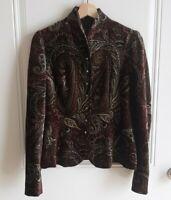 Ralph Lauren Black Label Womens Silk Blend Velvet Paisley Blazer Jacket Size 8