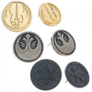Star Wars Jedi Rebel and Empire Symbols Earrings Set of Three Licensed NEW