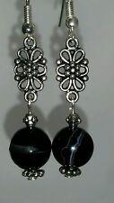 Natural Striped Black Onyx silver dangle earrings