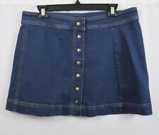 FREE PEOPLE Snap Button Front Blue Denim Mini Skirt Size 12