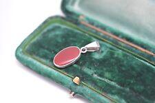Vintage Sterling Silver Art Deco Red Carnelian pendant #P159