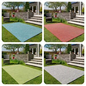 Vibrant Outdoor Garden Rugs Plain Flatweave Plastic Patio Area Mats Affordable