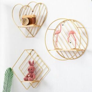 Nordic Style Iron Round Heart Shaped Grid Wall Shelf Decorative Hanging Storage