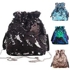 EG_ Shiny Sequin Fashion Drawstring Backpack Women Party Handbag Travel Pouch De