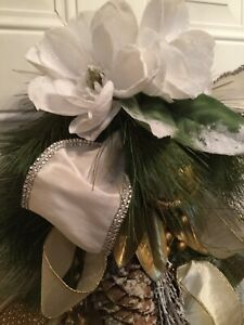 Gold, Beige, And White Magnolia Christmas Swag, Christmas Decor