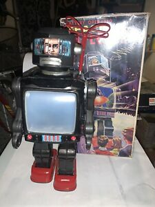 Horikawa Robot Tv Space made i Japan Vintage Tin Toy Latta Battery Ingap