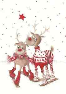 cute christmas reindeers skiing iron on t shirt transfer A5