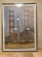 """Framed Counterpoint/Golden Gate Donald Farnsworth Art Lithograph 14.25x10"""""""
