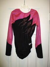 GK Elite AM Pink Long Sleeve Leotard Competition Gymnastics Adult Medium Sparkle