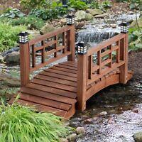 "Brown Finish Wood 48"" Garden Bridge LED Lights Outdoor Yard Lawn Landscaping"