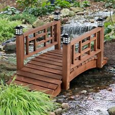 "Brown Finish Wood 48"" Garden Bridge Led Lights Outdoor Yard Lawn Landscaping"