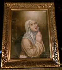 Rare Signed Antique Orthodox Oil Painting Saint Catharinas Sister Imelda Nunnery